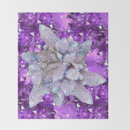 WHITE DRUZY QUARTZ & PURPLE AMETHYST CRYSTAL VIGNETTE Throw Blanket