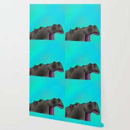Happy Hippo with Blue Backing Wallpaper
