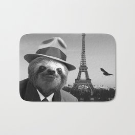 Gentleman Sloth in Paris Bath Mat