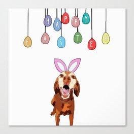 Happy Easter Vizsla Bunny Canvas Print