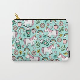 Unicorn Emoji Art Print, Frappuccino, Donuts, Blue and Pink, Girl Print, Tween Print Carry-All Pouch