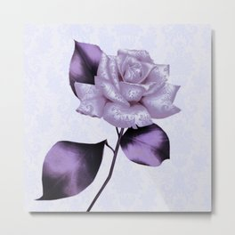 purple satiny rose on soft blue background Metal Print