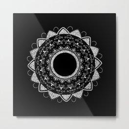Precious white mandala on black Metal Print