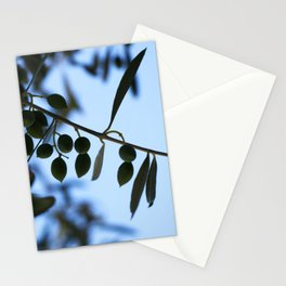 Olive tree branch against clear blue sky Stationery Cards