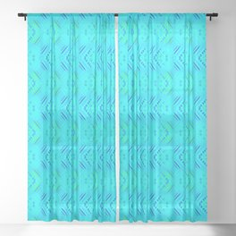 Striped heavenly hearts on a blue background. Sheer Curtain