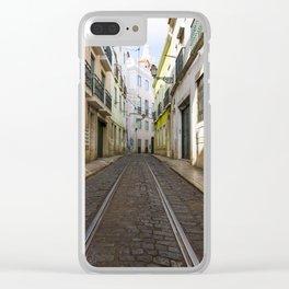Lisbon, Tram track Clear iPhone Case