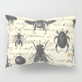 Insect Study on antique journal paper Pillow Sham