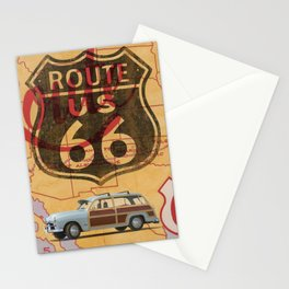 Route 66 Vintage Travel Poster Stationery Cards