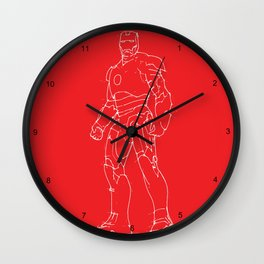 Iron man red background Wall Clock