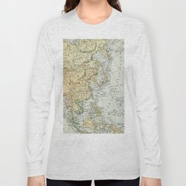 China, Russia, Japan Vintage Map Long Sleeve T-shirt