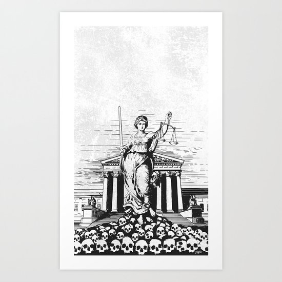 The Skulls of Justice B&W Art Print