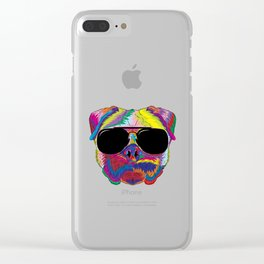 Psychedelic Pug Dog Face with Sunglasses Clear iPhone Case