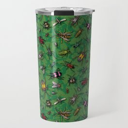 Bugs & Insects on Green Floral Background Travel Mug