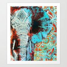 Indian Sketch Elephant Art Print