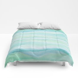 Blue Green Watercolor Layers Comforters