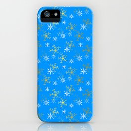 Snowflakes Gold And White iPhone Case