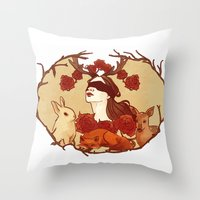 fawn Throw Pillows featuring fawn by chazstity