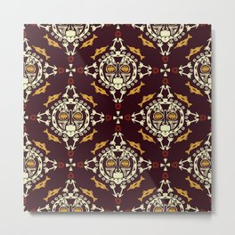 pattern with Tribal mask ethnic on dark Metal Print