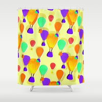 hot air balloons Shower Curtains featuring Hot Air Balloons (Yellow) by Ingrid Castile