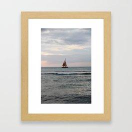 Boat off of Waikiki at Sunset Framed Art Print