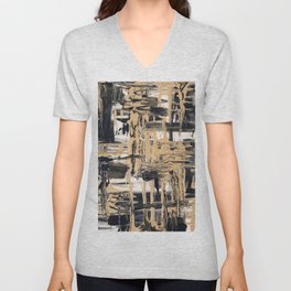 Black and Gold abstract painting Unisex V-Neck