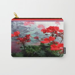 Red Geraniums Floral Red Abstract Carry-All Pouch