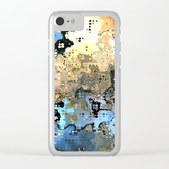 Golden Blue Abstract Clear iPhone Case