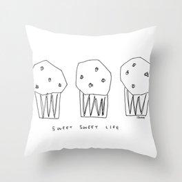 Sweet Sweet Life - cupcake illustration Throw Pillow