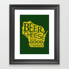 Green and Gold Beer, Cheese and Good Company Wisconsin Framed Art Print