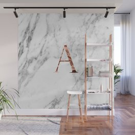 Monogram rose gold marble A Wall Mural