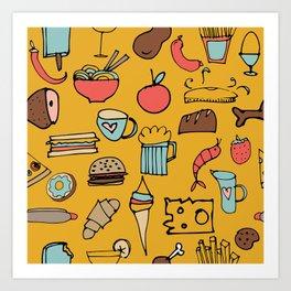 Food Frenzy yellow Art Print