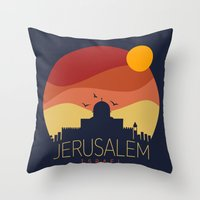 israel Throw Pillows featuring israel  by mark ashkenazi