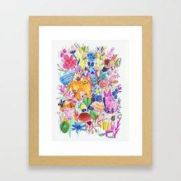 Orange and Pink Cats in Flower Garden Framed Art Print