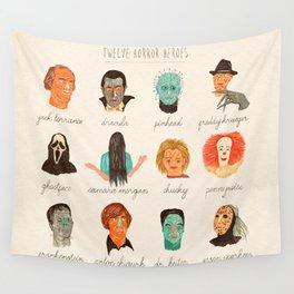 Twelve Horror Heros  Wall Tapestry