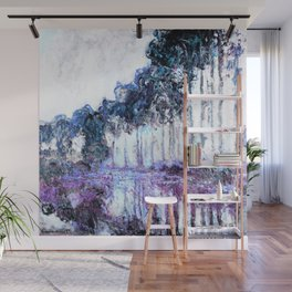 Monet : Poplars Lavender Periwinkle Deep Blue Wall Mural