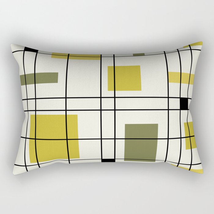 1950's Abstract Art Chartreuse Rectangular Pillow