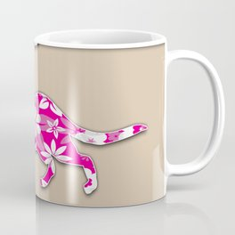 Floral Cat Pink Stripes Animals Design Pattern Coffee Mug