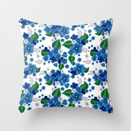 Gorgeous AND Beautiful Blue AND Green Flower Throw Pillow