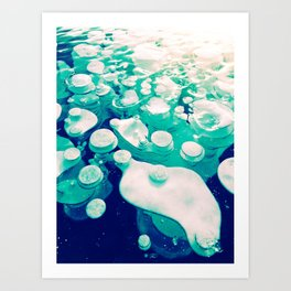 Green Fancy Bubbles Art Print