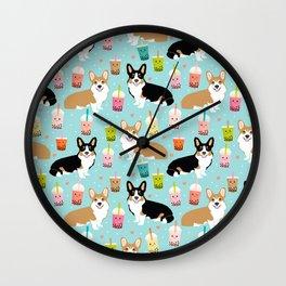 Corgi boba tea bubble tea kawaii food welsh corgis dog breed gifts Wall Clock