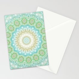 Earth and Sky Mandala in Pastel Blue and Green Stationery Cards