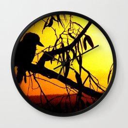 Kookaburra Silhouette Solstice Sunset Wall Clock