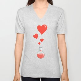 Love Chemistry Flask of Hearts Pattern Unisex V-Neck