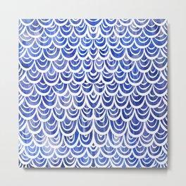 Watercolor Mermaid Blue Sapphire Metal Print