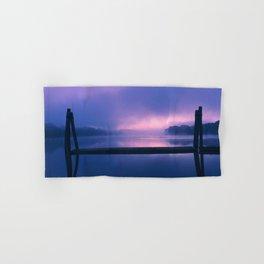 Serene Purple and Pink Waterfront Sunrise Landscape Hand & Bath Towel