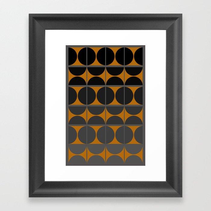 Black and Gray Gradient with Gold Squares and Half Circles Digital Illustration - Artwork Framed Art Print
