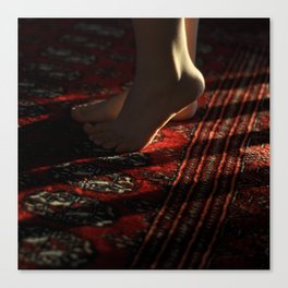 Feet and Red Rug Canvas Print