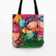 Love Angel - Fun, sweet, unique, creative and very colorful, original, acrylic children illustration Tote Bag