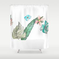 leah flores Shower Curtains featuring flores by Lua Fraga