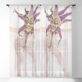 1417s-MM The Jester Bares All High Key Fine Art Masked Nude Sheer Curtain